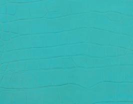 Coupon de cuir de veau turquoise imprimé crocodile