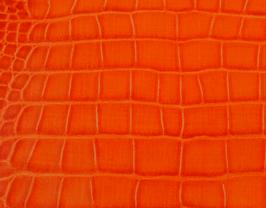 Coupon de cuir de veau orange imprimé crocodile