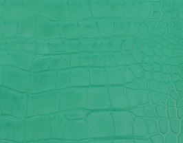 Coupon de cuir de veau vert clair imprimé crocodile