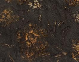 Coupon de cuir de vachette noir à poils motifs fleurs