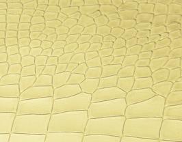 Morceau de cuir de vachette doré imprimé crocodile
