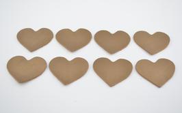 8 cœurs en cuir de vachette doré