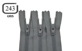 Fermeture éclair YKK grise en nylon non séparable