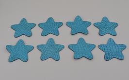8 étoiles en cuir d'agneau bleu brillant craquelé