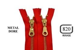 Fermeture éclair YKK rouge métal doré séparable