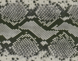 Morceau de cuir de vachette kaki et beige imprimé python