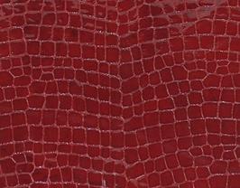 Morceau de cuir de vachette rouge imprimé crocodile
