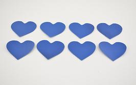 8 cœurs en cuir d'agneau bleu roi