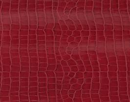 Morceau de cuir de vachette rouge foncé imprimé crocodile