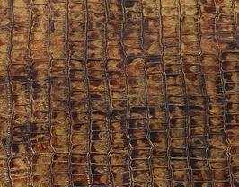 Morceau de cuir de chèvre doré imprimé crocodile