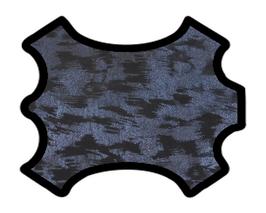 Peau d'agneau velours noir imprimé bleu métallisé
