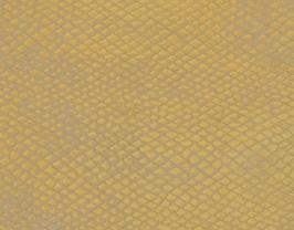 Coupon de cuir d'agneau doré imprimé serpent