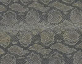 Morceau de cuir de vachette vert et argent imprimé lézard