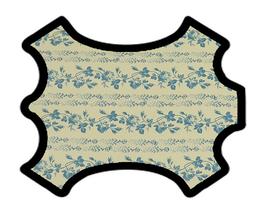 Peau d'agneau blanc cassé imprimé fleurs bleues