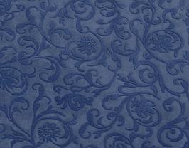 Morceau de cuir de vachette bleu imprimé fleurs velours