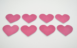 8 cœurs en cuir d'agneau rose vernis