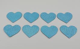 8 cœurs en cuir d'agneau bleu craquelé vernis