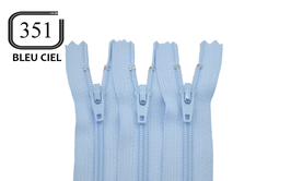 Fermeture éclair YKK bleu ciel en nylon non séparable