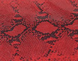 Morceau de cuir de vachette rouge et noir imprimé python