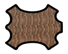 Demi peau de vachette camel et kaki imprimée écailles