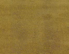 Morceau de cuir de vachette moutarde imprimé lézard