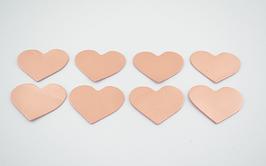 8 cœurs en cuir d'agneau nude