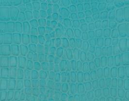 Coupon de cuir de vachette turquoise imprimé crocodile