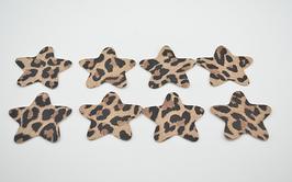 8 étoiles en cuir d'agneau léopard