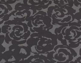 Coupon de cuir de vachette argent foncé imprimé roses noires
