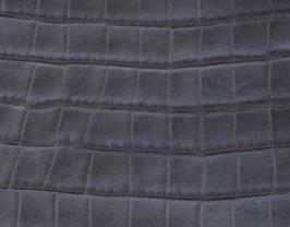 Coupon de cuir de vachette bleu nuit imprimé crocodile
