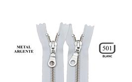 Fermeture éclair YKK blanche métal argenté non séparable