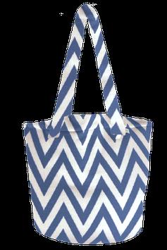 BEACH BASKET - ZigZag - Blau/Weiß