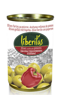 Oliven gefüllt mit Paprikapaste 280g- Dose, Liberitas