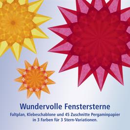 Wundervolle Fenstersterne - Karminrot, Sonnengelb, Orange