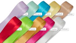 Seidenbänder Satinband breit 2,5 cm, 100 cm lang (Bel521-529L)