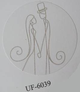 Verschluss-Siegel weiß mit Brautpaar braun