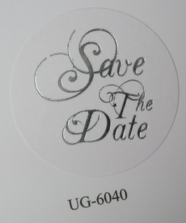 """Verschluss-Siegel weiß mit silberner Schrift """"Save The Date"""""""