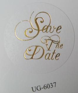 """Verschluss-Siegel weiß mit goldener Schrift """"Save The Date"""""""