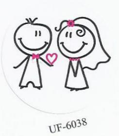 Verschluss-Siegel weiß mit Comic-Brautpaar schwarz-pink