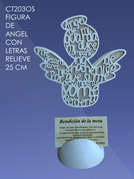 Figura de Ángel letras en relieve Oración Semanal