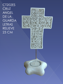 CT202ES CRUZ ÁNGEL DE LA GUARDA LETRAS EN RELIEVE
