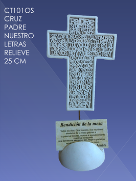 Cruz Padre Nuestro letras relieve