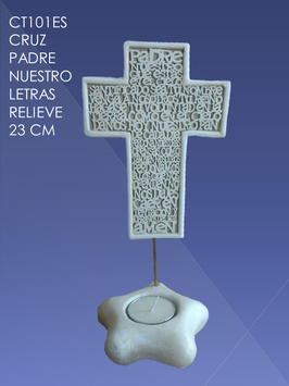 CT101ES CRUZ PADRE NUESTRO LETRAS RELIEVE