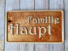 "Türschild ""Familie + Name"" aus Birke-Multiplex"