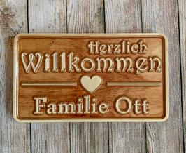 """Türschild """"Herzlich Willkommen"""" aus Birke-Multiplex - Design 1"""