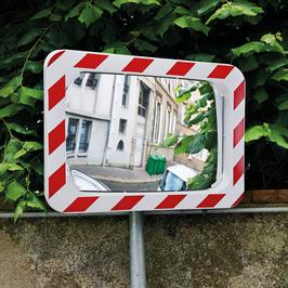Verkehrsspiegel mit rot-weißem Rahmen Edelstahlqualität, mit oder ohne Anti-Frost/Anti-Beschlag Funktion