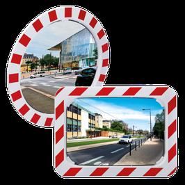 Verkehrsspiegel mit rot-weißem Rahmen