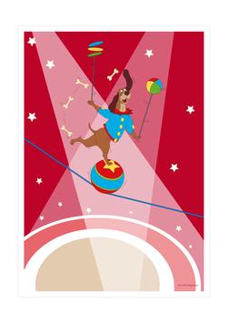 Affiche chien jongleur