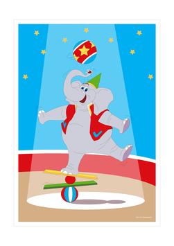 Affiche éléphant équilibriste