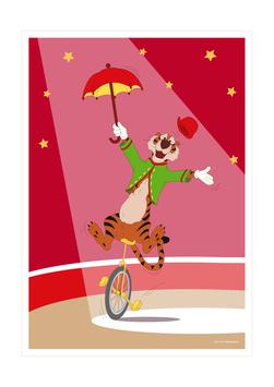 Affiche tigre monocycliste